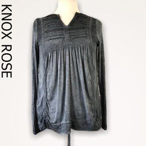 Knox Rose Blue Wash Popover Top Size XS